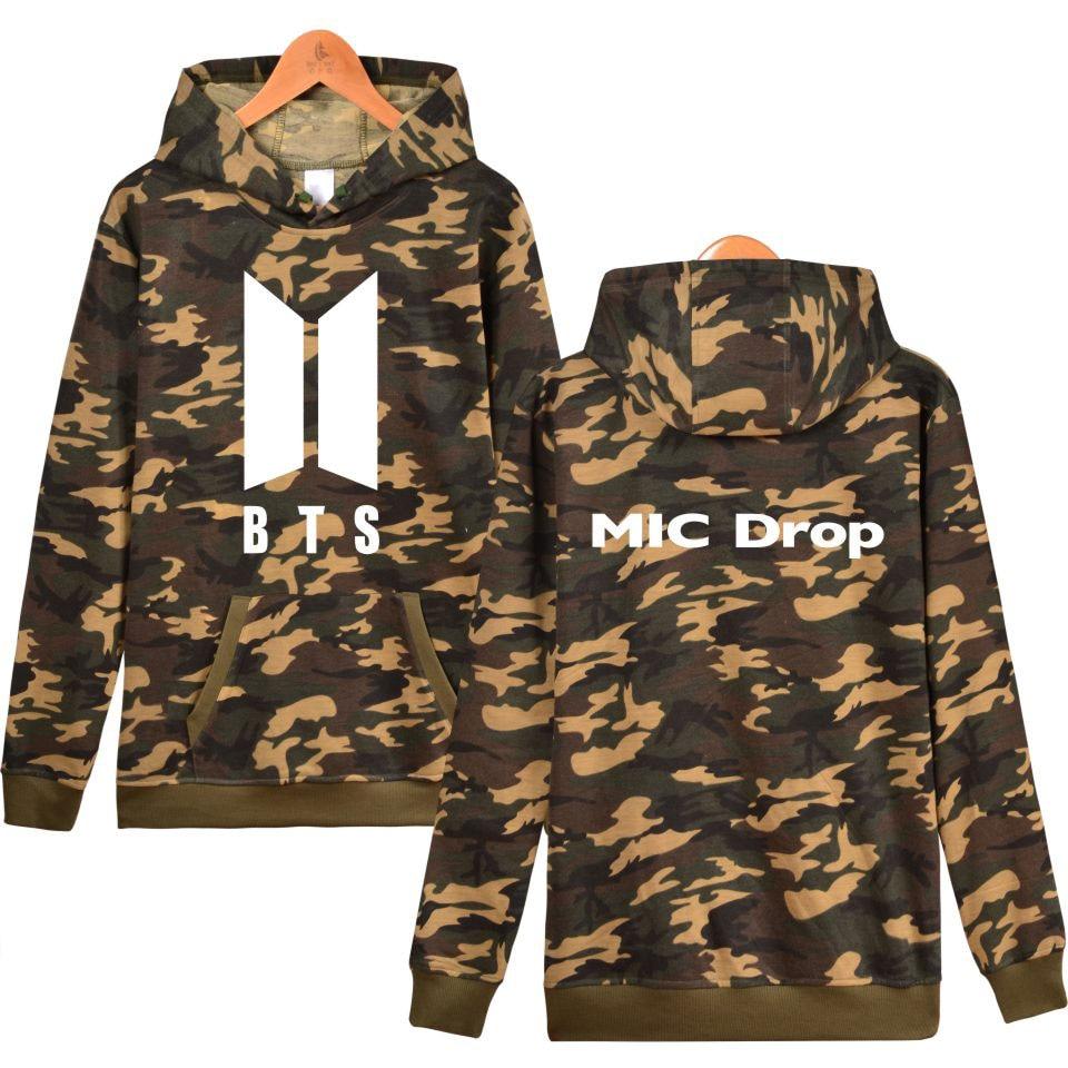 BTS New song MIC Drop Print Camouflage Hoodies bangtan boys Women/men Winter Hoodies sweatshirt khaki fashion shirt plus size