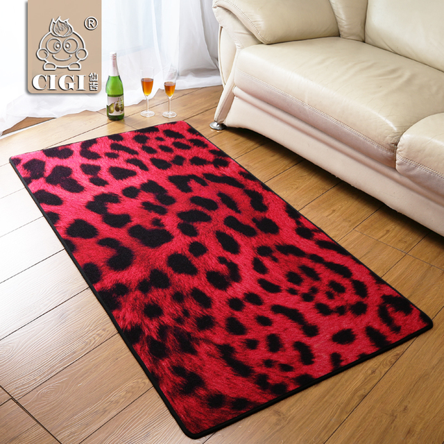 Aliexpress Com Buy Cigi Rose Red Leopard Carpet Bedroom