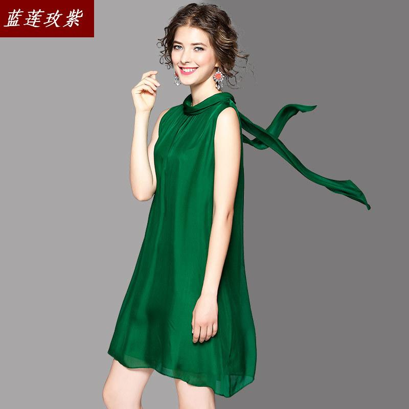 De 2019 la nouvelle mode des femmes tempérament pure couleur soie cravate un mot col sans manches dame robe est 73086