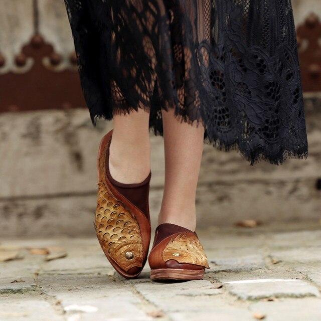 Zapatos para caminar de cuero de genuino conjunto de cuero los pescados pie 1840e7