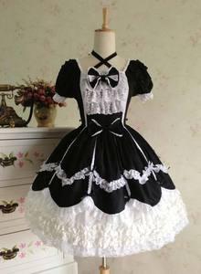 Image 5 - 2018 קצר שרוול קלאסי לוליטה שמלת וינטג סגנון כריס צלב צוואר אופ שמלת 7 צבעים עבור ילדה