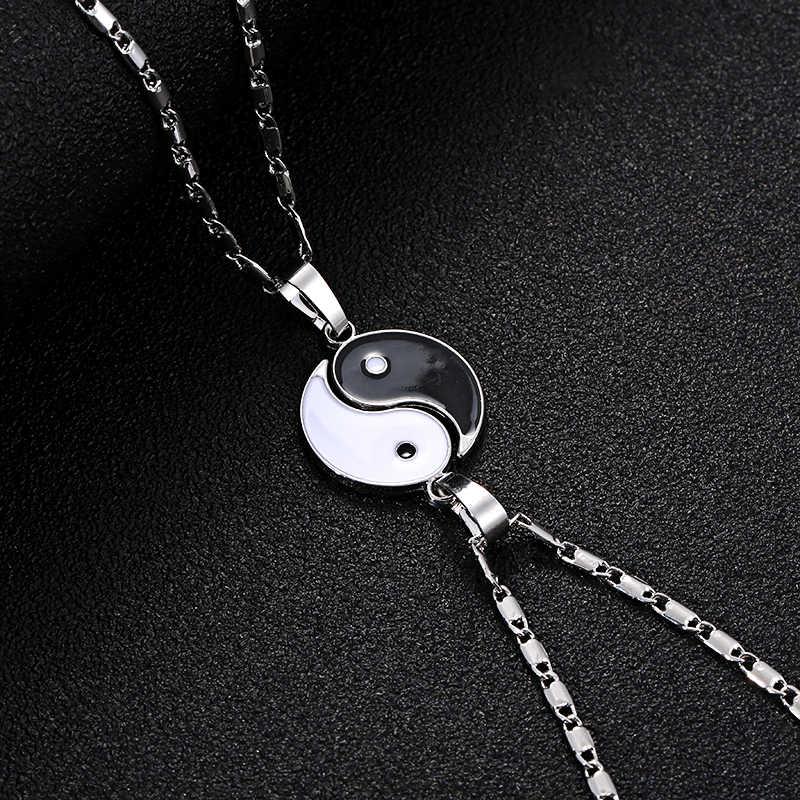 2 Pcs moda naszyjniki osiem schematy czarny i biały Yin Yang wisiorek dla pary kochanka Best Friends przyjaźń kobiet Unisex