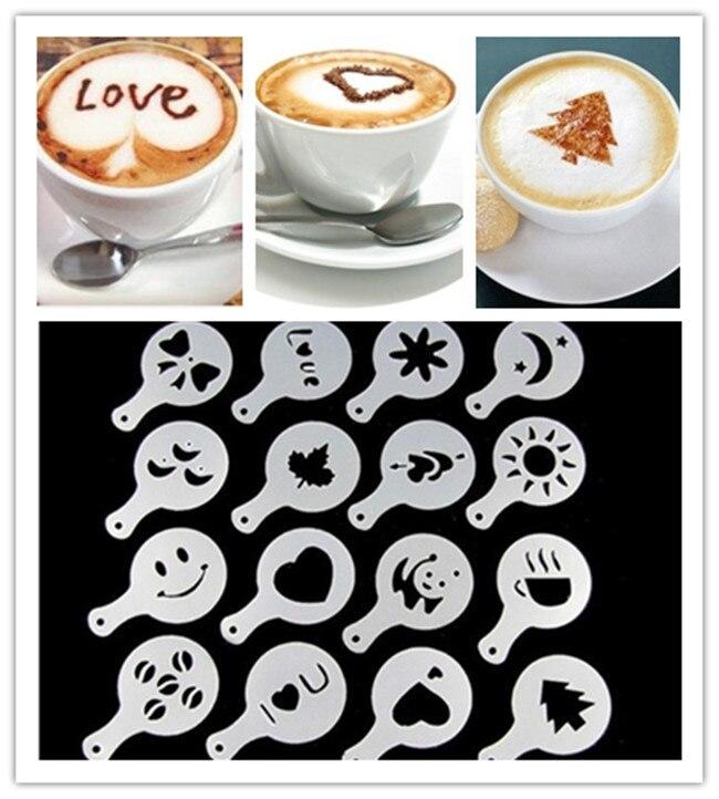 16 шт./компл., пластиковые трафареты для кафе, шаблон для распыления пены, декоративная форма для гирлянды, необычная кофейная модель с цветоч...