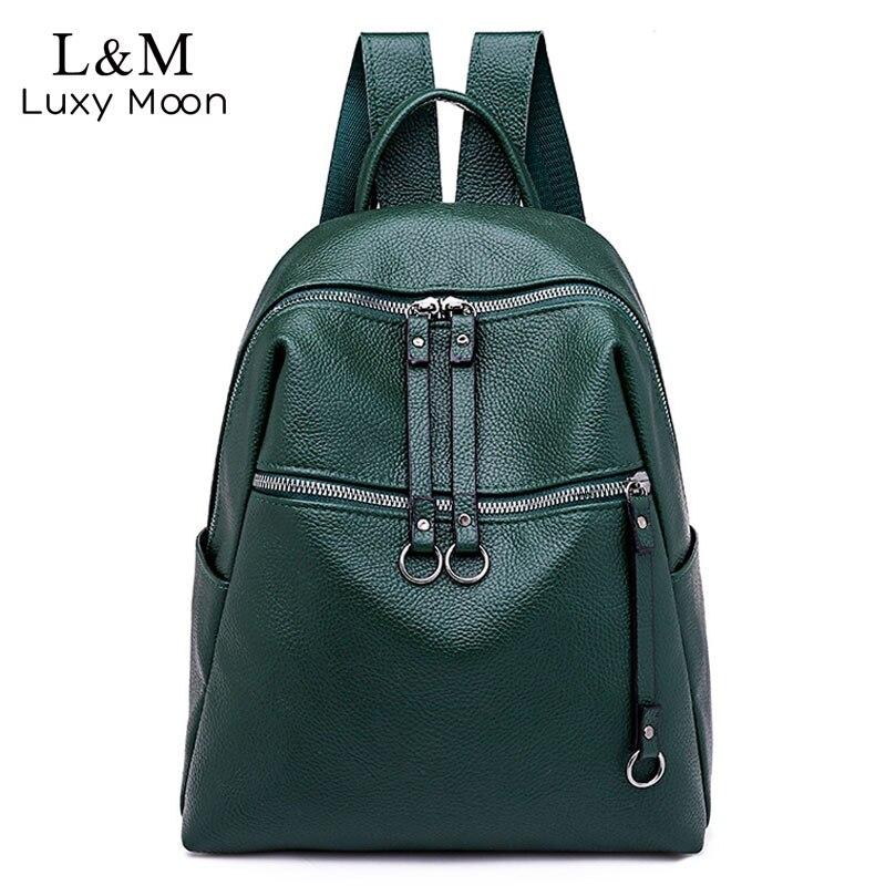 2019 Women Black Leather Backpack Female Soft Solid School Bag For Girls Fashion Travel Rucksack Tassel Backpacks Mochila XA170H
