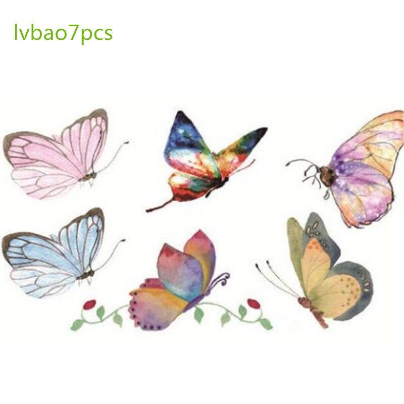 防水タトゥーの色手描き男性と女性の小さな新鮮な持続色の蝶ステッカー  グループ上の 美容 & 健康 からの 消えるタトゥー の中 1