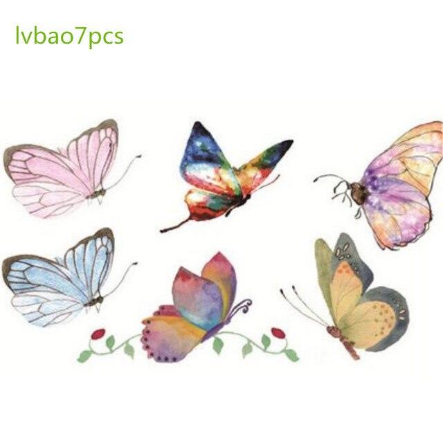 Cor impermeável da tatuagem pintados à mão masculino e feminino pequeno fresco duradouro cor borboleta adesivos