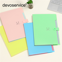 2018 A4 Kawaii Smile Waterproof File Folder 5 Layers Bags Expanding Wallet Bill Folders For Documents Carpeta Free Delivery