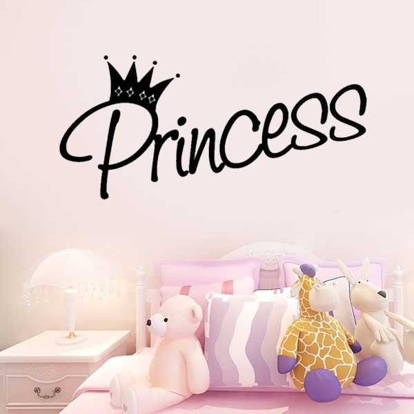 Removable Princess Crown wall stickers decoration Girl Bedroom ...