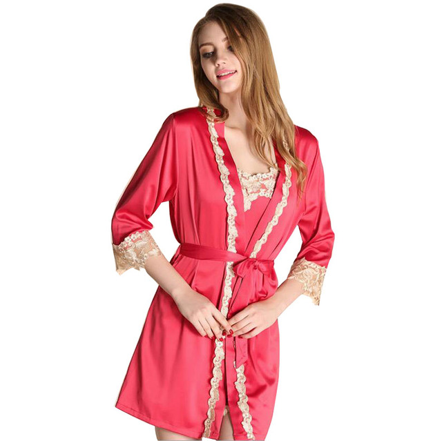 Robe Sets Imitated Stain Silk Women Pajamas Sets 2016 Hot Sales Women Robe  For Girls Nightgown Lace Embroidery Sleepwear