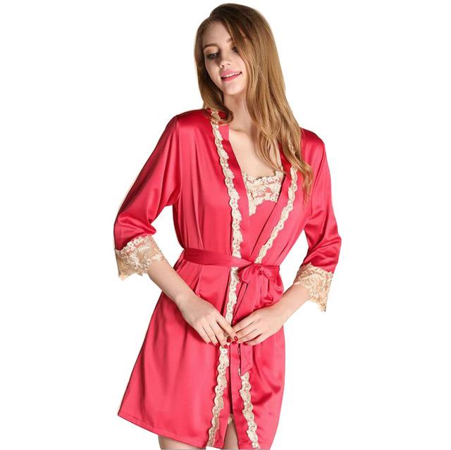 Robe Sets Mujeres Pijamas de Seda Imitado Mancha 2016 Ventas Calientes Mujeres del Traje Para Niñas Camisón de Encaje Bordado ropa de Dormir