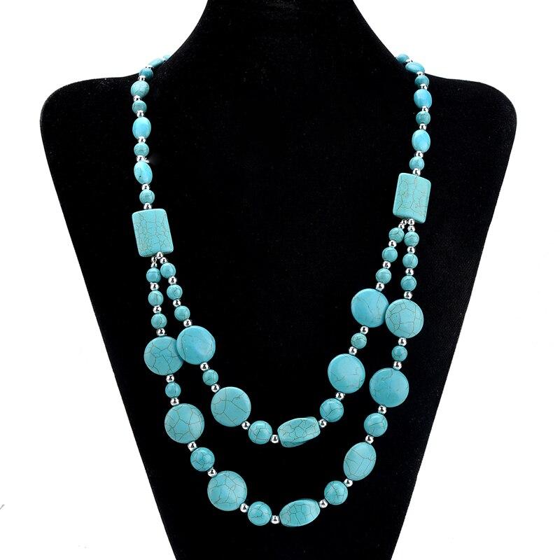 Hot Turquoise Beads Choker Vintage Necklaces Pendants Statems