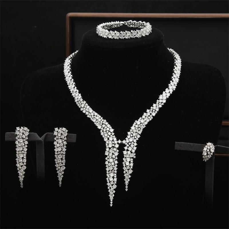 AAA CZ Crystal Dubai Wedding Jewelry Sets Big Statement Heavy Necklace Choker Full Stone Bracelets With Earrings Adjustable RingAAA CZ Crystal Dubai Wedding Jewelry Sets Big Statement Heavy Necklace Choker Full Stone Bracelets With Earrings Adjustable Ring