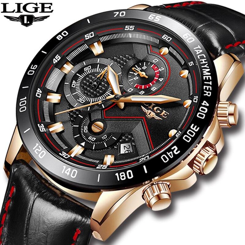 LIGE Herren Uhren Top Brand Luxus Quarzuhr Gold Männer Casual Leder Militärische Wasserdichte Sport Armbanduhr Relogio Masculino