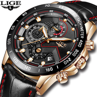 LIGE Mens Watches Top Brand Luxury Quartz Watch Gold Men Casual Leather Military Waterproof Sport Wristwatch Relogio Masculino