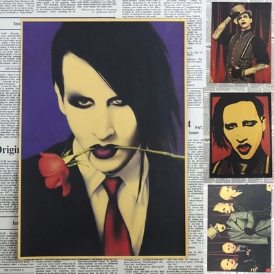 Vintage Poster Marilyn Manson Retro Rock Poster Wall Sticker House Living Room Art Wall Decoration Painting 30*21CM