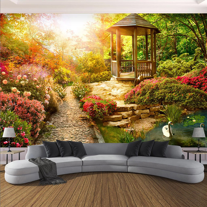 Custom Mural Wallpaper 3D Stereo Sunshine Garden Scenery Wall Painting Living Room Bedroom Home Decor Wall Papers For Walls 3 D