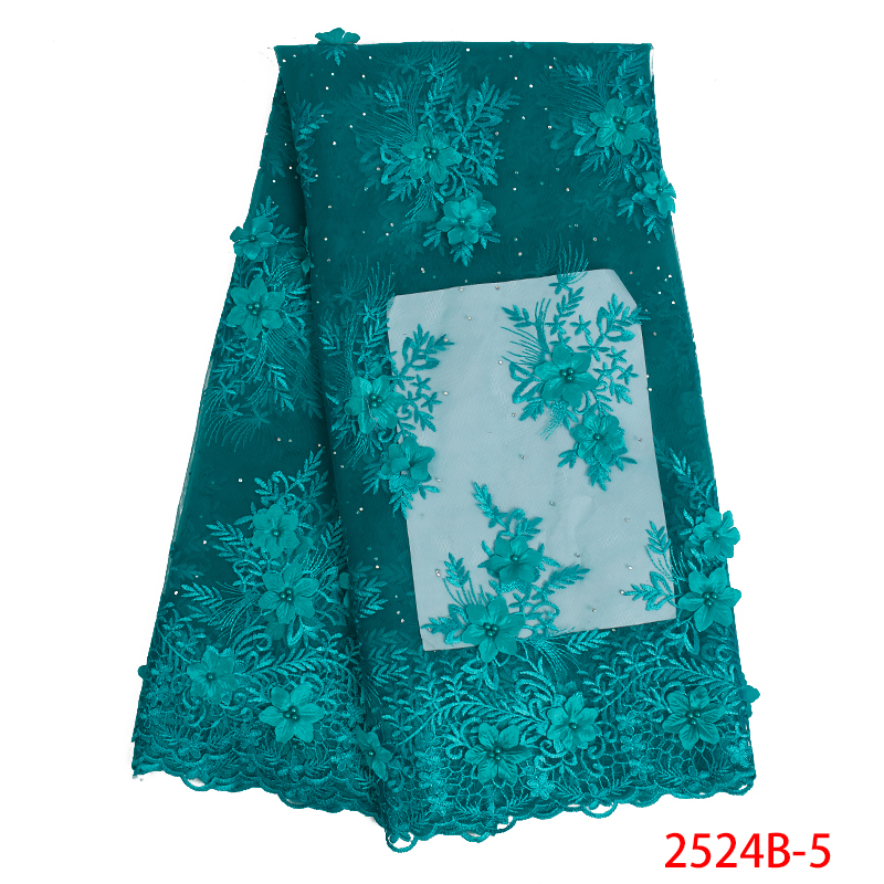 High Quality Nigerian Tulle Lace Fabrics Latest 3D African Lace Fabric French Net Lace Fabric With Flowers For Bride KS2524B