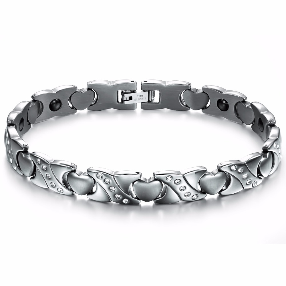 Delicate Hot Sale New Fashion Accessories Keep Health Stainless Steel Magnetic Bracelets Bangles for Llady Woman