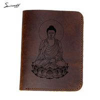 Hakiki Deri Cüzdan Erkek Özel Ad Hediye Çanta Lazer Kazınmış Gautama Buddha Çanta Erkek Budizm tanrı portre Erkekler Cüzdanlar