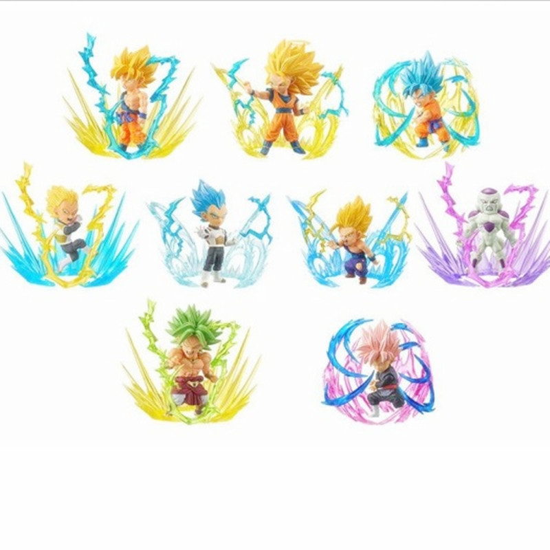 Dragon Ball Super rafale monde à collectionner Figure WCF Super Saiyan bleu Rose Son Goku Gohan végéta Freeza Broly 9 pièces/ensemble