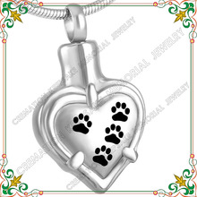 CMJ8531 Heart paw cremation jewelry memorial ashes urn pendants stainless steel jewelry keepsakes