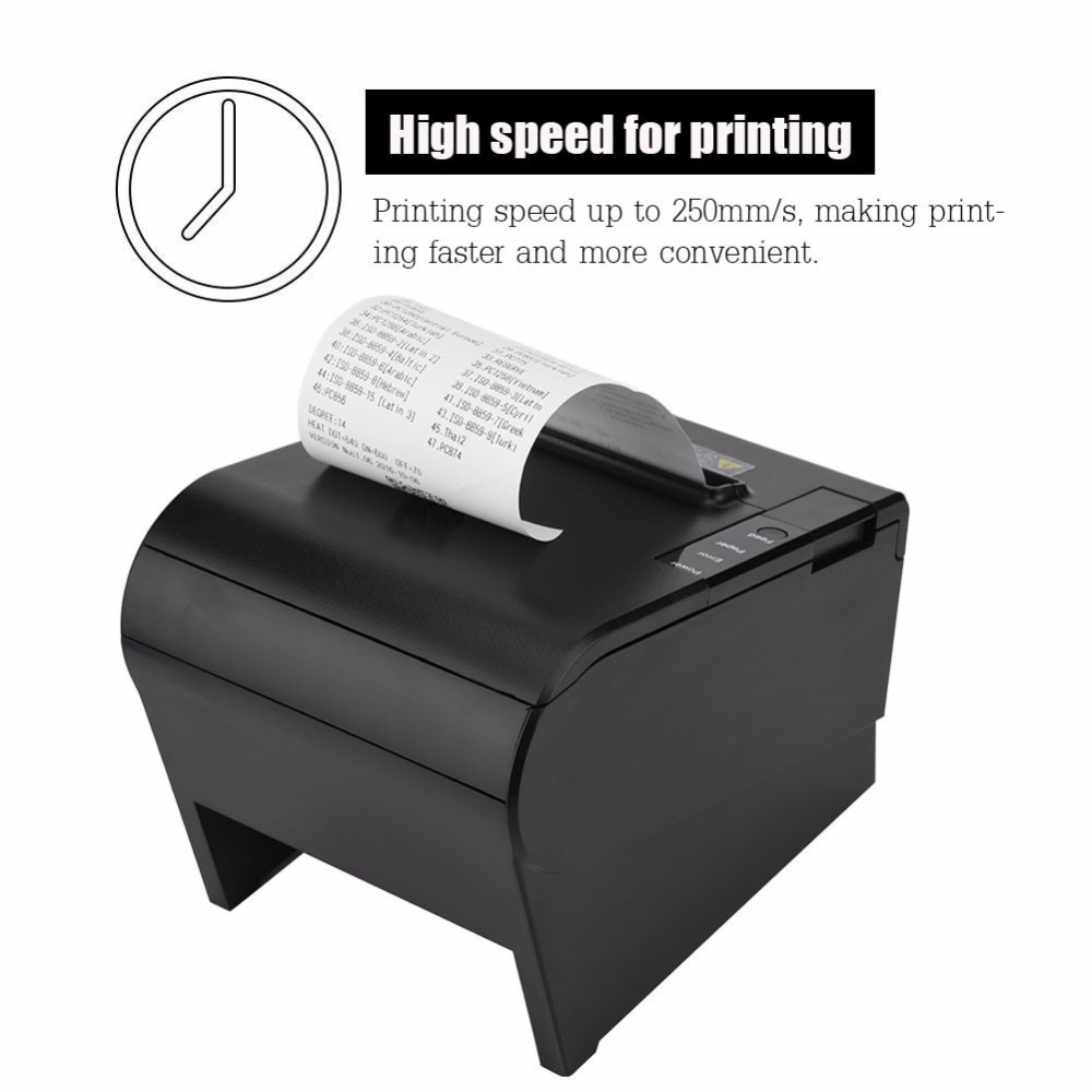 High Speed USB 80mm Thermal Receipt Printer for Bank Supermarket POS Printing For US EU UK Plug us plug thermal printer mini portable bluetooth wireless receipt thermal printer for android pc for restaurant supermarket