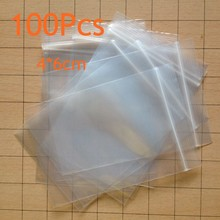 100Pcs/lot 6X4CM Ziplock Lock zipped Poly Clear Bags Plastic Food storage bags Thick transparent package bags