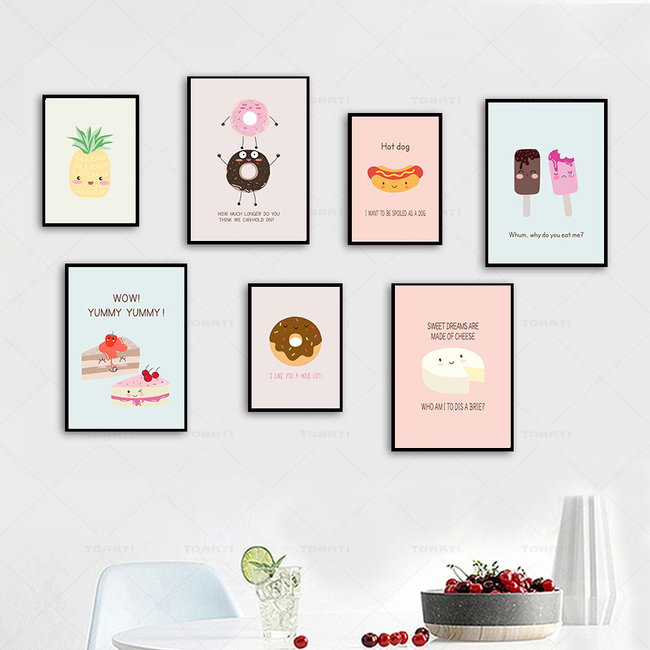 US $3 67 OFF Kartun Lucu Hot Dog Keju Donat Dapur Dekorasi Kanvas Lukisan Poster Dan Cetak Modern Dinding Seni Mural Grafik Gambar Painting &