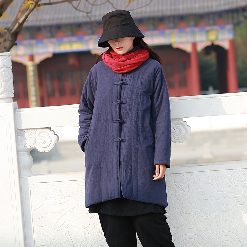2018 Winter New Women's Wear Chinese Retro Vertical Collar Coat Button Cotton padded Clothing Thickened  Medium-length parkas