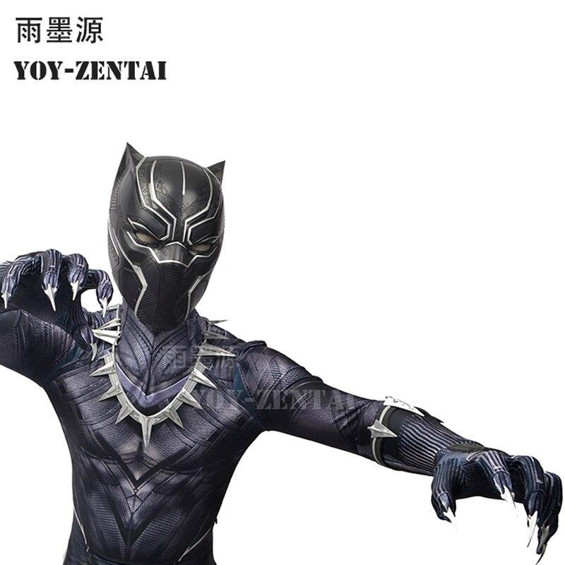 YOY-ZENTAI-4 высокое качество гражданская война, Черная пантера Костюм с Детали Новые Черная пантера Косплэй костюм с лапой