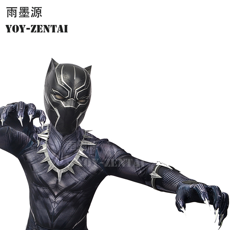YOY-ZENTAI-4 High Quality Civil War Black Panther Suit With Details Newest Black Panther Cosplay Costume With Paw