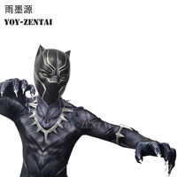 YOY ZENTAI 4 High Quality Civil War Black Panther Suit With Details Newest Black Panther Cosplay Costume With Paw