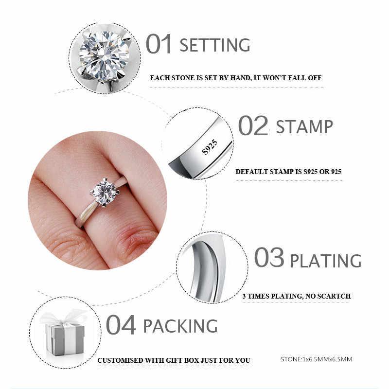 Sona ไม่ปลอม Fine Arrow กรงเล็บแกะสลักแหวน S925 Diamond Solitaire แหวน Original Design 925 รอบตัด 4 กรงเล็บ