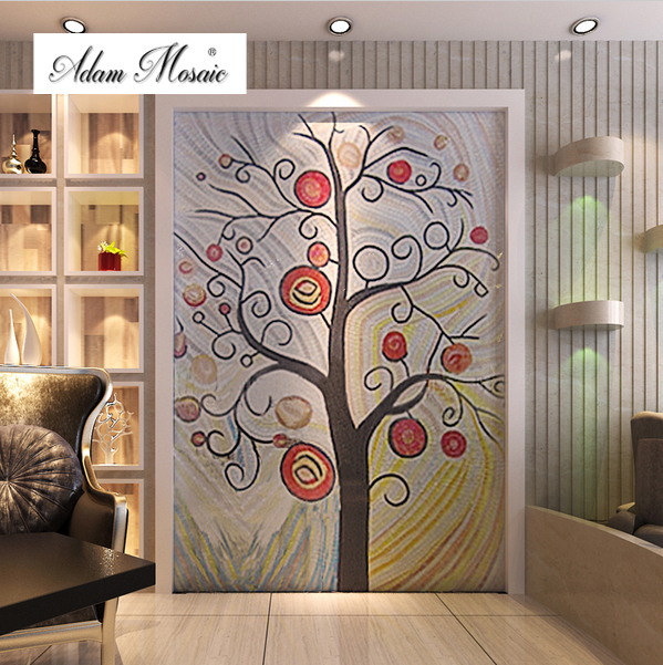 Porcelain Jade Glass Mosaic Tile Wall Mural Colorful Abstract Puzzle  Picture Happy Love Tree Home Living Part 57