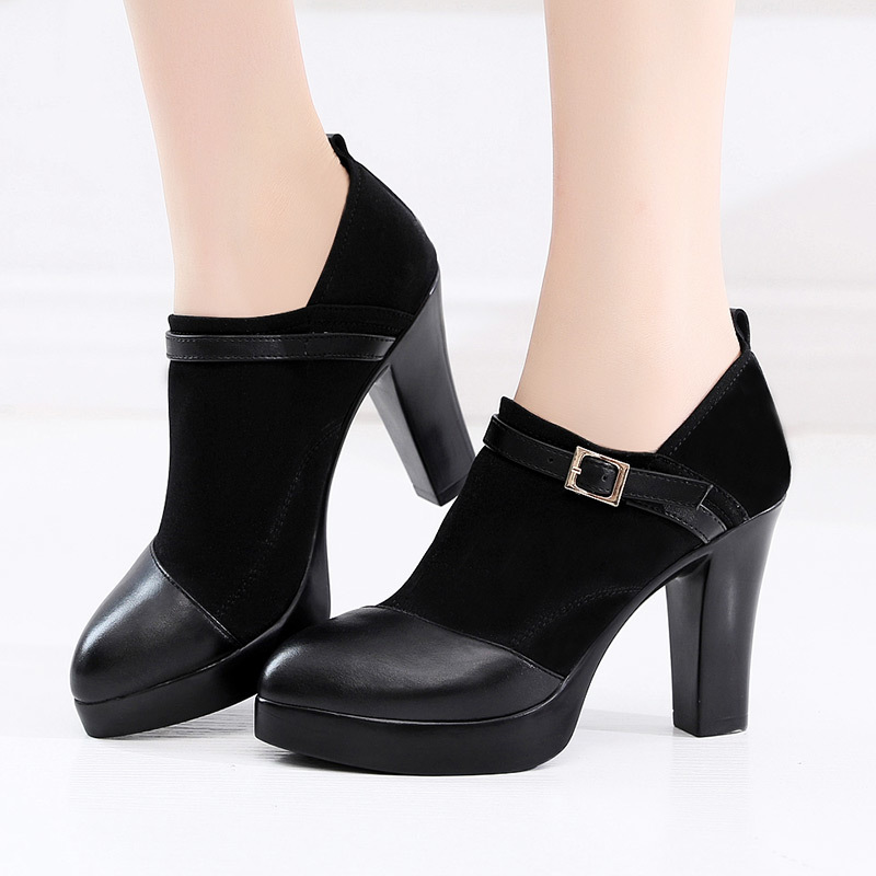 Plus Size 32-43 Block Heels Deep Platform Pumps