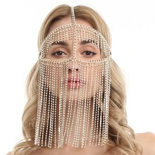 Sexy Harness Chain Face Mask Metal Rhinestone Face Veil Chai