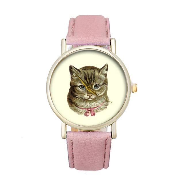Fashion Women's Watch Cat Pattern Leather Band Analog Quartz Vogue Wrist Watch r