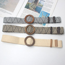 HUOBAO Bohemian Style Wide Belt For Women Straw Buckle Sash Dress Decoration Casual Female Braided Strap Belts
