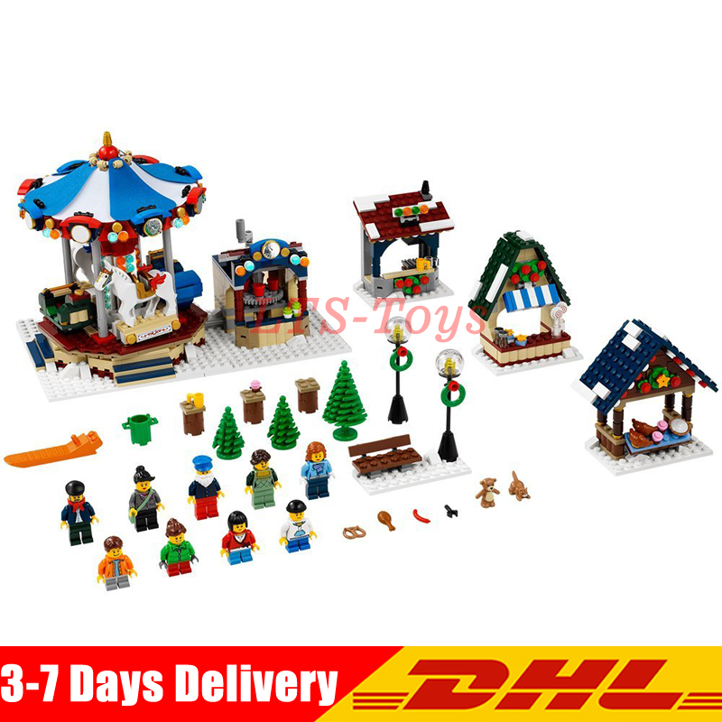 Lepin 36010 Creative Series 1412Pcs The Winter Village Market Set 10235 Building Blocks Bricks Educational Toys Christmas Gifts lepin 36010 genuine creative series the winter village market set legoing 10235 building blocks bricks educational toys as gift