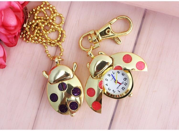 Bulk 10pcs/Lot Gold Ladybug Beetle Key Chain Pendant Pocket Quartz Watch Chain Heart Degsin Gift GL02GT