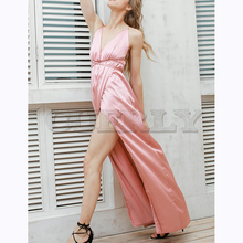 CUERLY summer Sexy deep V-neck Slip satin backless long dress Women pajamas elegant evening Party maxi Bandage dresses vestidos red satin deep v neck slit hem maxi slip dress