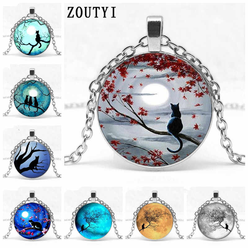 2019  new, hot models moon cat series concave glass pendant necklace, fashion gift necklace. wholesale