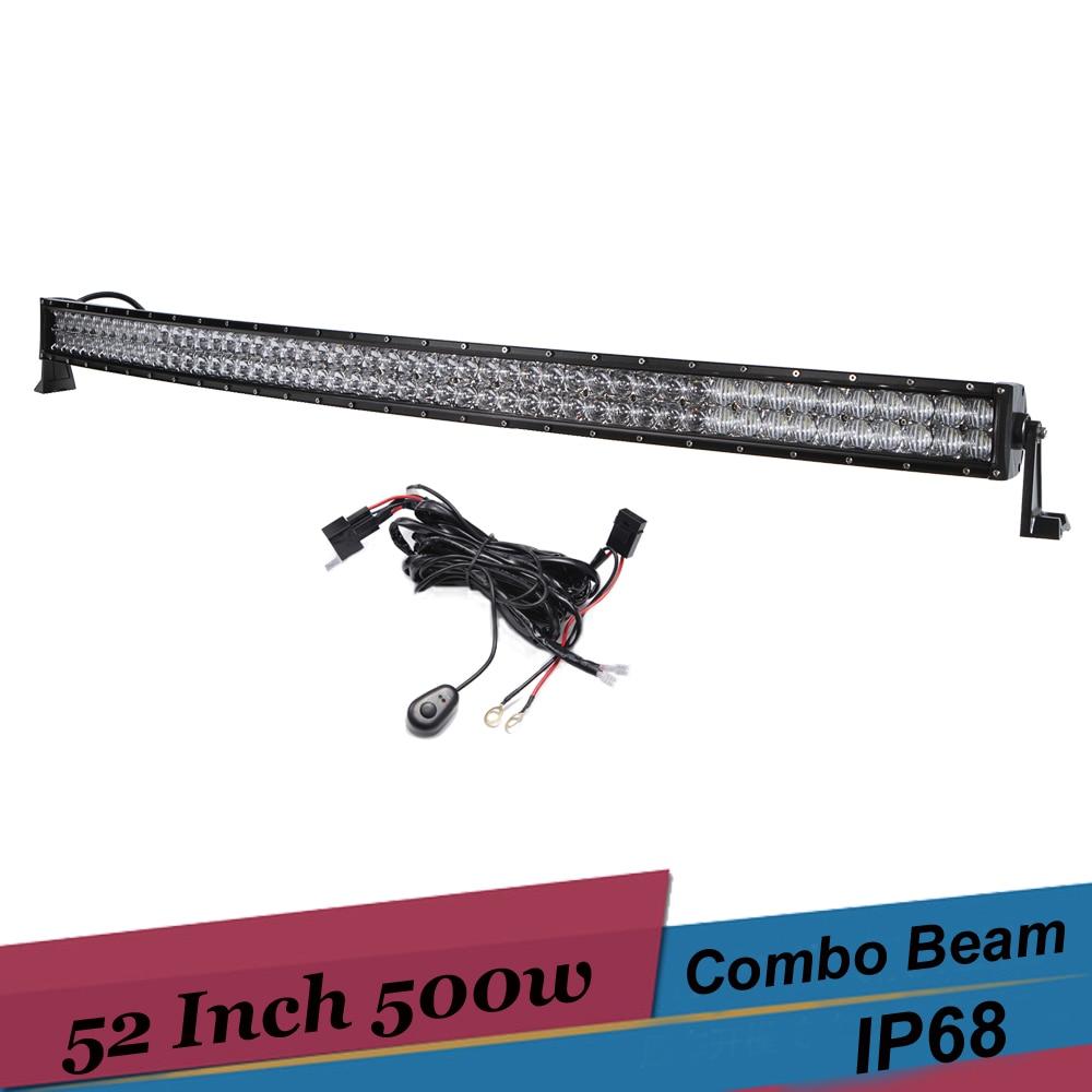 500w 52 Inch Curved LED Light Bar 5D Off Road Combo Driving Light for 2007 <font><b>Dodge</b></font> <font><b>Ram</b></font> <font><b>1500</b></font> 4x4 SUV 4WD Truck Pickup Boat LED Bar