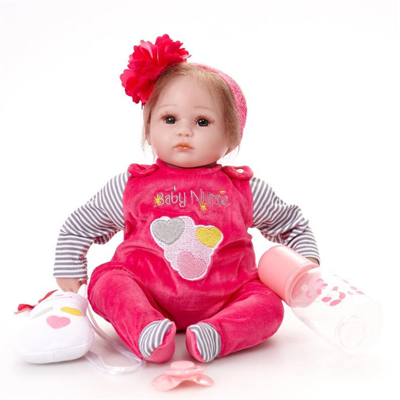 High Quality Kawaii 43 CM Lifelike Reborn Baby Soft Silicone Dolls Reborn Toddler Doll Girl Best Birthday Gift For Kids short curl hair lifelike reborn toddler dolls with 20inch baby doll clothes hot welcome lifelike baby dolls for children as gift