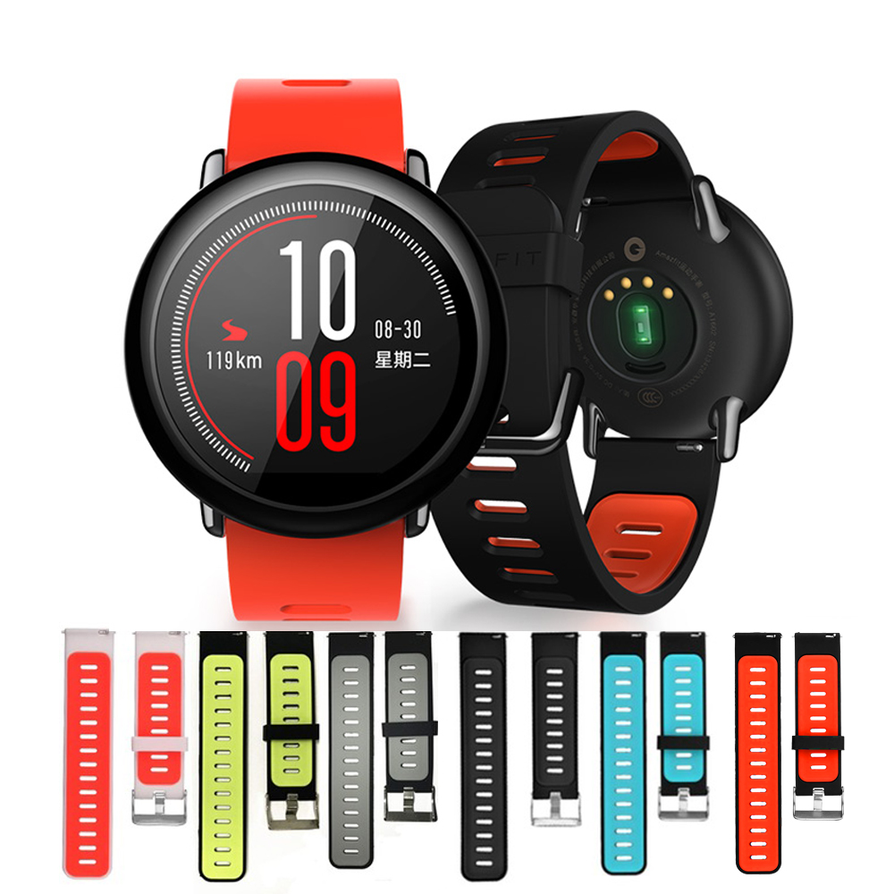 For Xiaomi Huami Amazfit Stratos 2 2S For Xiaomi Huami Amazfit PACe Bracelet Strap Smart Watch Band 22mm Soft Silicone Wristband