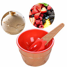 1PC kids large ice molds ice cream bowls with a spoon ice cream cup Couples bowl gifts Dessert HOT SALE(China)