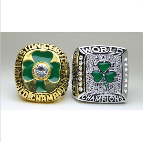 One set 2 PCS 1984 2008 Boston Celtics National Bakstball Championship Ring 10 Size