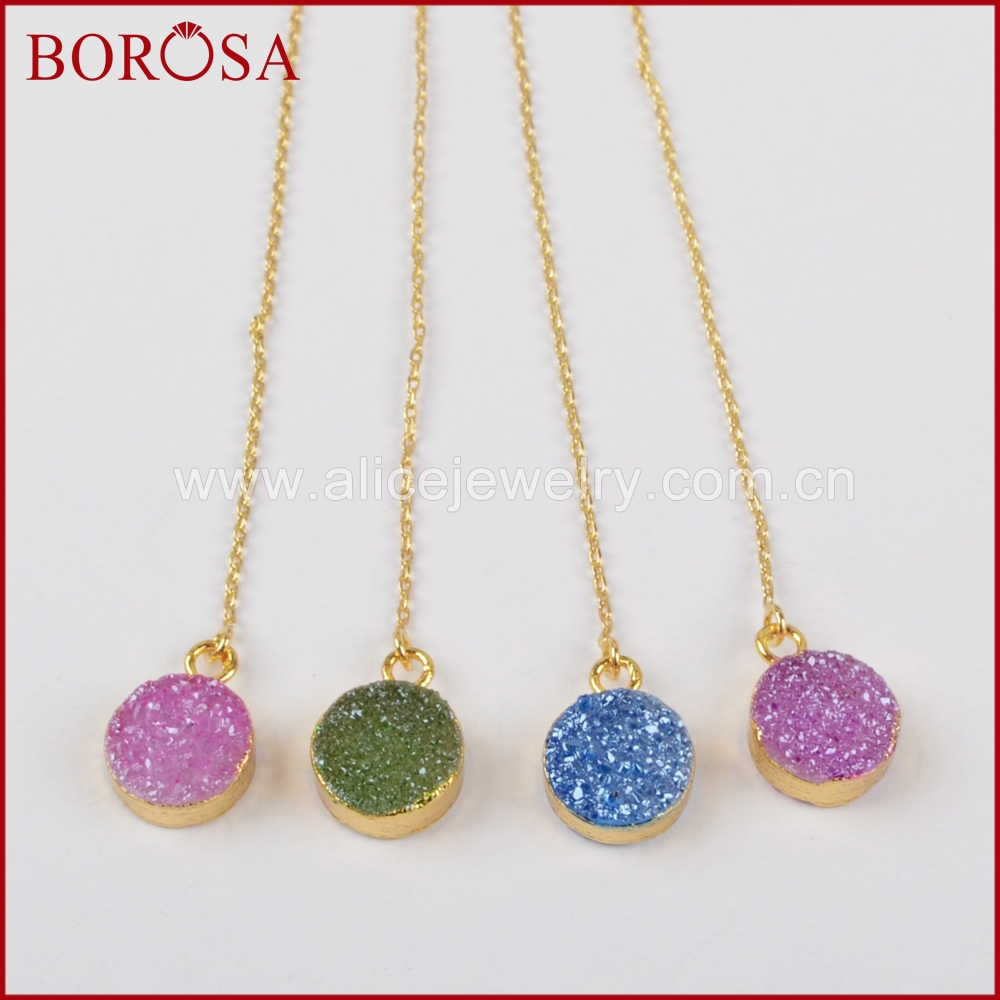 Borosa 10mm Round Electroplated Gold Color Druzy Rainbow Quartz Stone Drusy  Drop Earrings Threader Earrings For