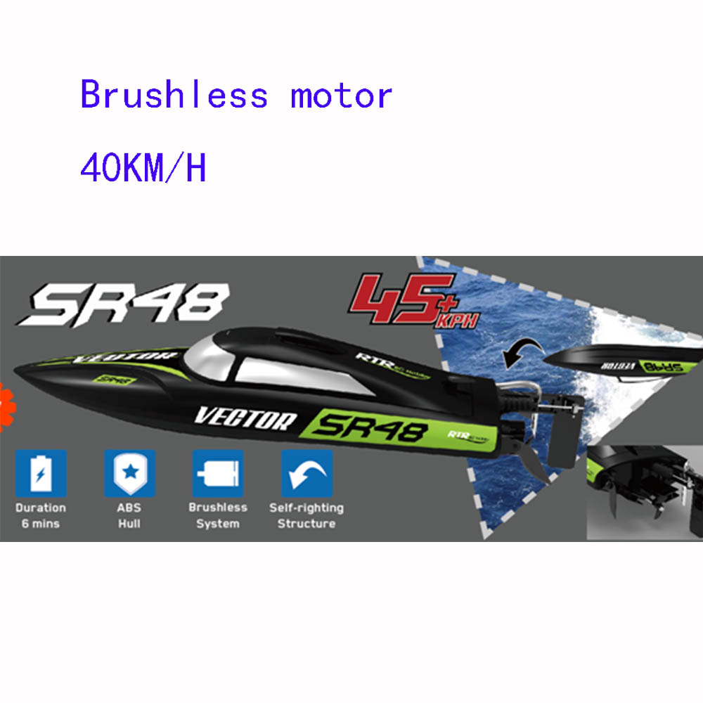 RC Boat 797-3 Vector SR48 Brushless 2.4GHz 40km/h High Speed Racing Boat Self-righting Electric RC Ship Toy h625 pnp spike fiber glass electric racing speed boat deep vee rc boat w 3350kv brushless motor 90a esc servo green