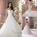 Luxury Wedding Dresses Pearls Embroidery on Upper Body Sweetheart Vestido De Noiva Tulle Skirt Ball Gown Wedding Dresses 2017